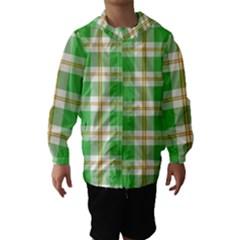Abstract Green Plaid Hooded Wind Breaker (kids)