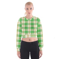 Abstract Green Plaid Cropped Sweatshirt