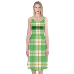 Abstract Green Plaid Midi Sleeveless Dress