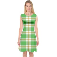Abstract Green Plaid Capsleeve Midi Dress