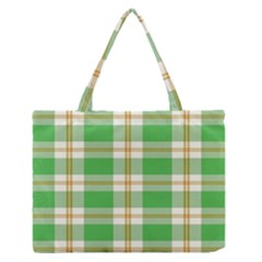 Abstract Green Plaid Medium Zipper Tote Bag