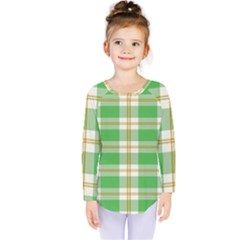 Abstract Green Plaid Kids  Long Sleeve Tee