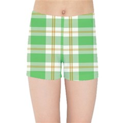 Abstract Green Plaid Kids Sports Shorts