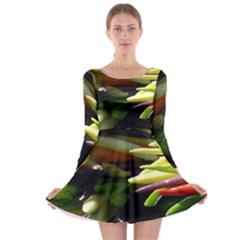 Bright Peppers Long Sleeve Skater Dress