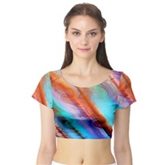 Cool Design Short Sleeve Crop Top (tight Fit)