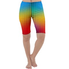 Blurred Color Pixels Cropped Leggings