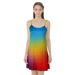Blurred Color Pixels Satin Night Slip