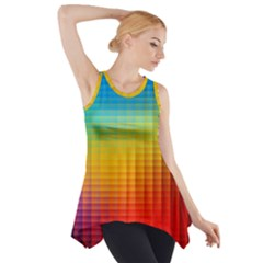 Blurred Color Pixels Side Drop Tank Tunic