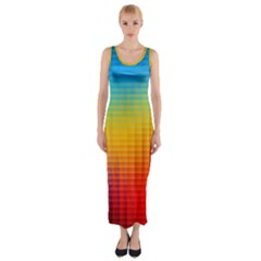 Blurred Color Pixels Fitted Maxi Dress
