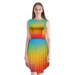 Blurred Color Pixels Sleeveless Chiffon Dress
