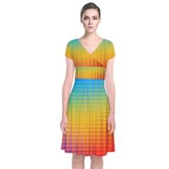Blurred Color Pixels Short Sleeve Front Wrap Dress