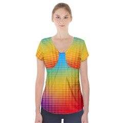 Blurred Color Pixels Short Sleeve Front Detail Top
