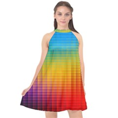 Blurred Color Pixels Halter Neckline Chiffon Dress  by BangZart