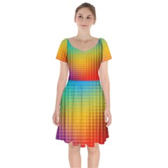 Blurred Color Pixels Short Sleeve Bardot Dress by BangZart