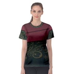 Beautiful Floral Textured Women s Sport Mesh Tee