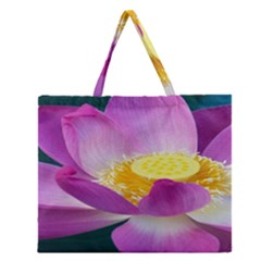 Pink Lotus Flower Zipper Large Tote Bag by BangZart