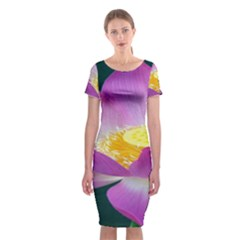 Pink Lotus Flower Classic Short Sleeve Midi Dress