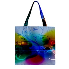 Abstract Color Plants Zipper Grocery Tote Bag