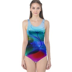 Abstract Color Plants One Piece Swimsuit