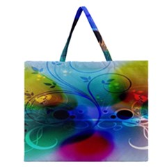 Abstract Color Plants Zipper Large Tote Bag by BangZart
