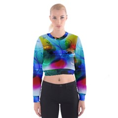 Abstract Color Plants Cropped Sweatshirt