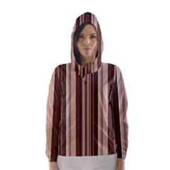 Brown Vertical Stripes Hooded Wind Breaker (women)