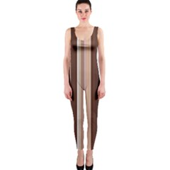 Brown Vertical Stripes Onepiece Catsuit