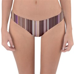 Brown Vertical Stripes Reversible Hipster Bikini Bottoms