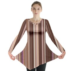 Brown Vertical Stripes Long Sleeve Tunic