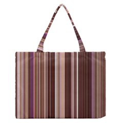 Brown Vertical Stripes Medium Zipper Tote Bag by BangZart