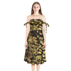 Blurry Sparks Shoulder Tie Bardot Midi Dress