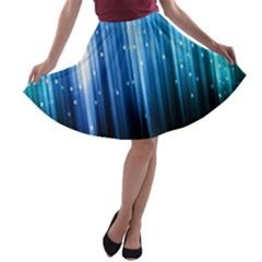 Blue Abstract Vectical Lines A Line Skater Skirt