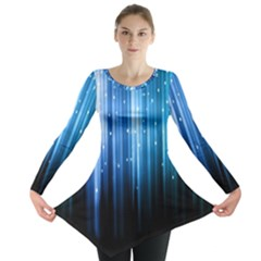 Blue Abstract Vectical Lines Long Sleeve Tunic
