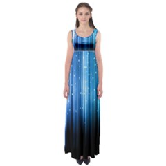 Blue Abstract Vectical Lines Empire Waist Maxi Dress
