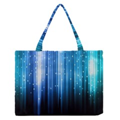 Blue Abstract Vectical Lines Medium Zipper Tote Bag