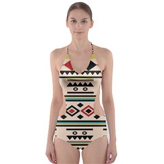 Tribal Pattern Cut Out One Piece Swimsuit