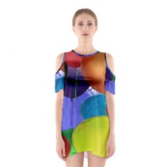 Colorful Balloons Render Shoulder Cutout One Piece