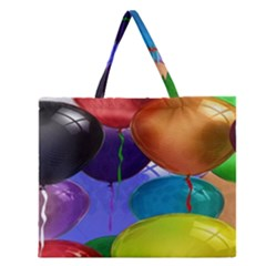 Colorful Balloons Render Zipper Large Tote Bag