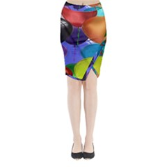Colorful Balloons Render Midi Wrap Pencil Skirt
