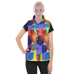 Colorful Balloons Render Women s Button Up Puffer Vest