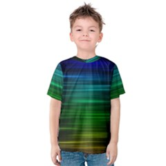 Blue And Green Lines Kids  Cotton Tee