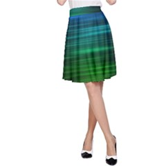 Blue And Green Lines A Line Skirt