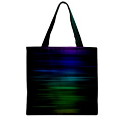 Blue And Green Lines Zipper Grocery Tote Bag by BangZart