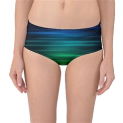 Blue And Green Lines Mid Waist Bikini Bottoms