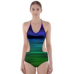 Blue And Green Lines Cut Out One Piece Swimsuit