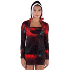 Spider Webs Women s Long Sleeve Hooded T Shirt