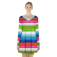 Colorful Plasticine Long Sleeve Velvet V Neck Dress