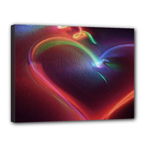 Neon Heart Canvas 16  X 12