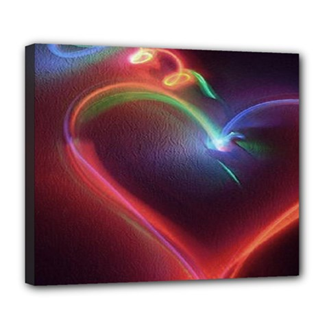 Neon Heart Deluxe Canvas 24  X 20   by BangZart
