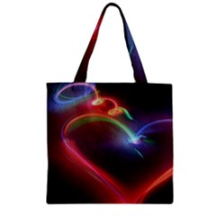 Neon Heart Zipper Grocery Tote Bag by BangZart